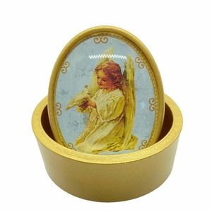 Charming Little Angel and Dove Gold Trinket Box